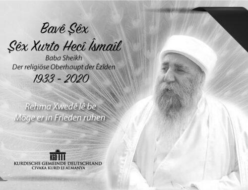 Trauer um das religiöse Oberhaupt der Êzîden Baba Sheikh / Bavê Şêx, Şêx Xurto Hecî Îsmaîl