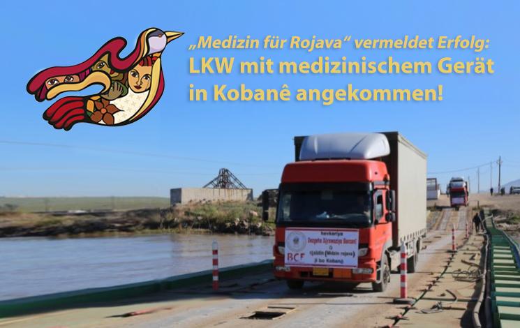 Ankunft des LKWs-Konvois an der Grenze zu Nordsyrien/Rojava. Als Folge der Grenzblockade durch den türkischen Präsidenten Erdogan müssen Hilfsgüter einen Umweg von ca. Tausend km nehmen. Foto: W. Mast